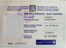 Küstenpatent Kroatien Boat Skipper B