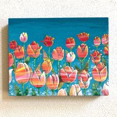 チューリップの花の絵画。母の日に、オーダーメイドの花の絵画をプレゼント
