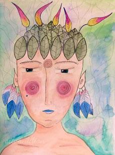 Illustration, Portrait, Voodoo-Lady, Gesicht einer nackten Person mit Federschmuck auf dem Kopf und in den Ohren, Aquarell