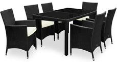 tavolo #sedie #polyrattan #nero #impilabili