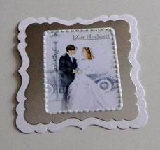 Hochzeitskarte in silber-grau-weiß
