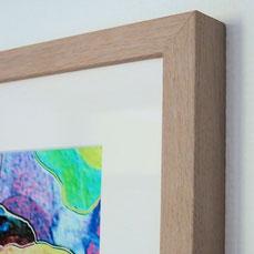 Paper FibaPrint semimatte 300, passepartout white elephant, UV-glass and oak light framing