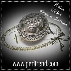 Perlen Silber Diverse Formen www.perltrend.com beads pearls silver Luzern Schweiz Onlineshop Schmuck Jewellry