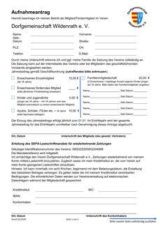 Mitgliedsantrag Dorfgemeinschaft Wildenrath Seite 1