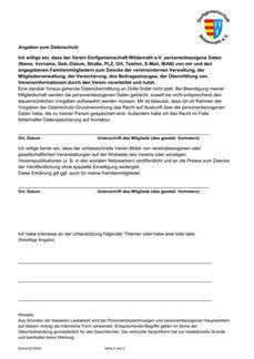 Mitgliedsantrag Dorfgemeinschaft Wildenrath Seite 2