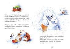 Eisbärküken und Braunbär-Eisbär-Mix zanken sich um den Nuckel. Eisbär Wolfgang küsst seine Frau Brigitte und der Piranha schwimmt mit einem Nuckel in seinem Kugelaquarium herum.