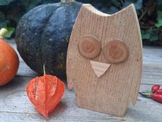 Eule Herbstdeko Altholz