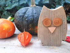Eule Holz Herbstdekoration
