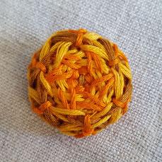 knopfoutlet.de - Posamentenknopf aus Sticktwist, orange, gelb, beige