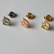 Pins in goud zilver en koper