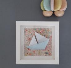 Cadre origami Bateau- Format 14x14cm - 25€ (plusieurs formats disponibles)