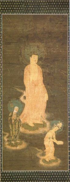 絹本着色阿弥陀三尊像