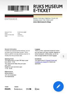 Online-Ticket Rijksmuseum