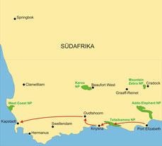 Karte Südafrika Kleingruppenreise 4 Tage ab Port Elizabeth