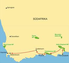 Karte Südafrika Kleingruppenreise 9 Tage Gartenroute