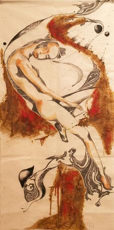 Die Geburt einer Idee - Oxidation, Öl und Aquarell auf Japan-Papier, 70 x 140cm, 2019