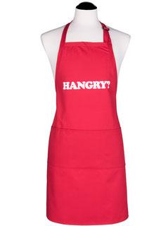 Rote Männerschürze mit der Aufschrift: HANGRY?