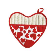 Jessie Steele Topflappen herzförmig mit roten Herzen