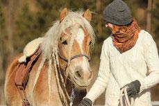 Ein Pferd wird von Natascha Leiler an der Longe geführt