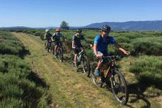 Le vélo tout terrain à travers bois, dans les hameaux ou sur les rives d'une rivière,.