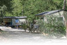 Les mobil-homes installé sur une camping boisé au bord du Chassezac et à proximité des activités.