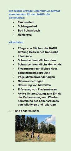 Inlay (Einleger) zum Flyer der NABU Gruppe Untertaunus - Seite 2