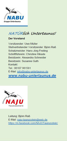 Inlay (Einleger) zum Flyer der NABU Gruppe Untertaunus - Seite 1