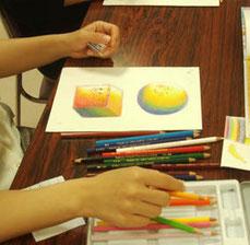 色鉛筆技法授業風景