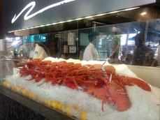Une vitrine avec des homard alignés sur la glace pilée