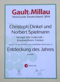 Gault Millau Deutschland Entdeckung des Jahres 2014 Weingut Alte Grafschaft Kreuzwertheim Franken Christoph Dinkel Norbert Spielmann
