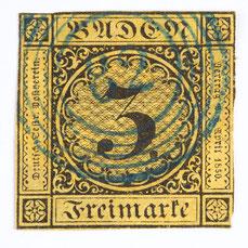 Baden 3 Kreuzer auf orangegelbem Grund mit blauem Fünfringstempel Nummer 82 (Lenzkirch), Nr. 2a