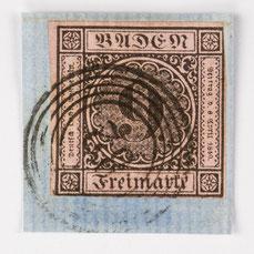 Baden 9 Kreuzer auf rosarotem Grund mit Fünfringstempel Nummer 82 (Lenzkirch), Nr. 4b