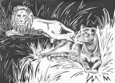 Графичный рисунок львов выполнен тушью.