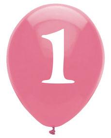 6 ballons roses écriture blanche chiffre 1