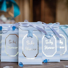 DECO BABY SHOWER BLEU ET OR - PASTEL BLUE AND GOLD BABY SHOWER DECORATION