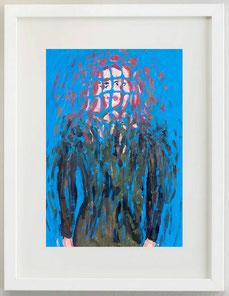 Donna con capelli rossi su sfondo azzurro, acrilico, 20 x 30 cm