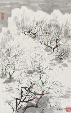 """(предположительно) Wu Guanzhong, """"Весна"""", тушь на бумаге, 53 х 33 см"""