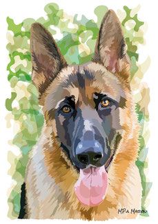 disegno-drawing-portrait-ritratto-german sheperd dog-cane-dog-digital-art-pastore-tedesco-ritratto-particolare-testa-lingua-sguardo-attento-primo-piano