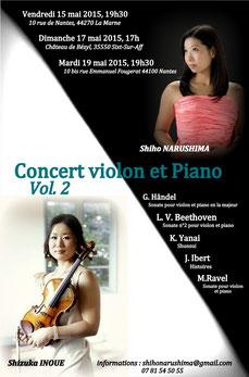 Concert violon et piano Shiho Narushima et Shizuka Inoue