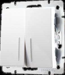 Выключатель двухклавишный с подсветкой белый Werkle
