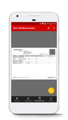 Smartphone mit Medikationsplan der App