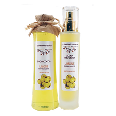 confezione regalo bagnodoccia e acqua profumata limone ischia il giardino d'Ischia erboristeria