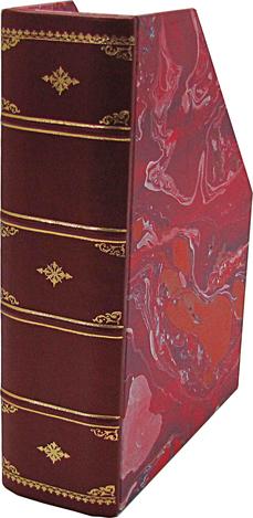 porta riviste pelle e carta marmorizzata a mano conti borbone