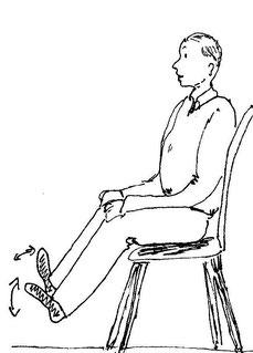 Zeichnung eines Mannes der auf dem Stuhl sitzt und die Füße bewegt