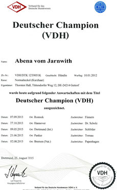 DtCh VDH 2015 Abena vom Jarnwith