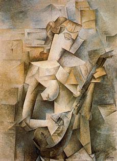 パブロ・ピカソ「マンドリンを持つ少女」(1910年)