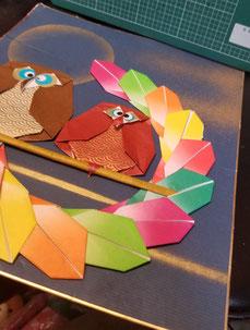 講習作品(予定)仲良しこよし鶴など、創作の折り鶴数点