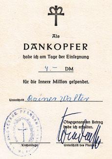 Spendenbescheinigung Dankopfer