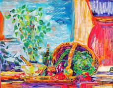 Les poivrons, pastel gras et encre, Claire ALLARD, nature morte
