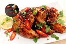 Chicken Wings Schaschlik Rezept Asia Style mit Chili Mango Sauce Glasur